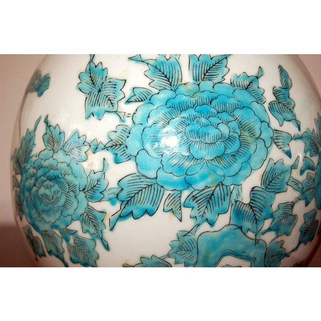 1960s Marbro Italian Porcelain Table Lamps Aqua For Sale - Image 5 of 9