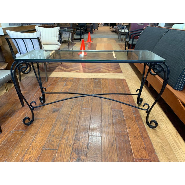 Black Italian Style Wrought Iron Scroll Base + Glass Console For Sale - Image 8 of 8