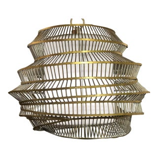 Palecek Gold Pendant With White Diffusion Center Cone For Sale