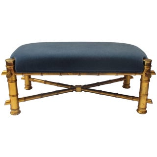 Gilt Faux Bamboo Bench For Sale