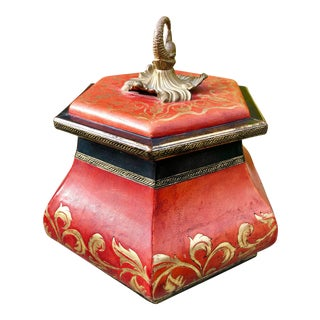John-Richard Leather Embossed Red Hexagonal Covered Box For Sale