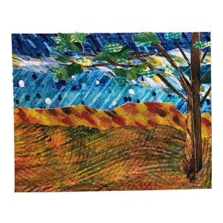 Final Price! Nancy Smith Storybook Landscape Nature Collage in Blue and Orange For Sale