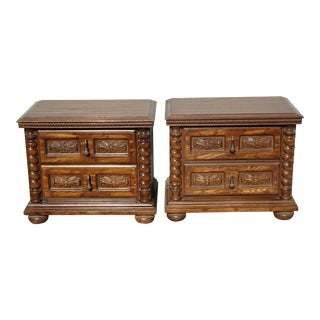 Pair Vintage Spanish Style Brown Barley Twist Nightstands ~ French Country For Sale