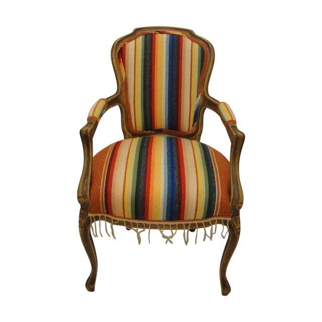 Bergere Chair Custom Upholstered in Serape - Image 1 of 8