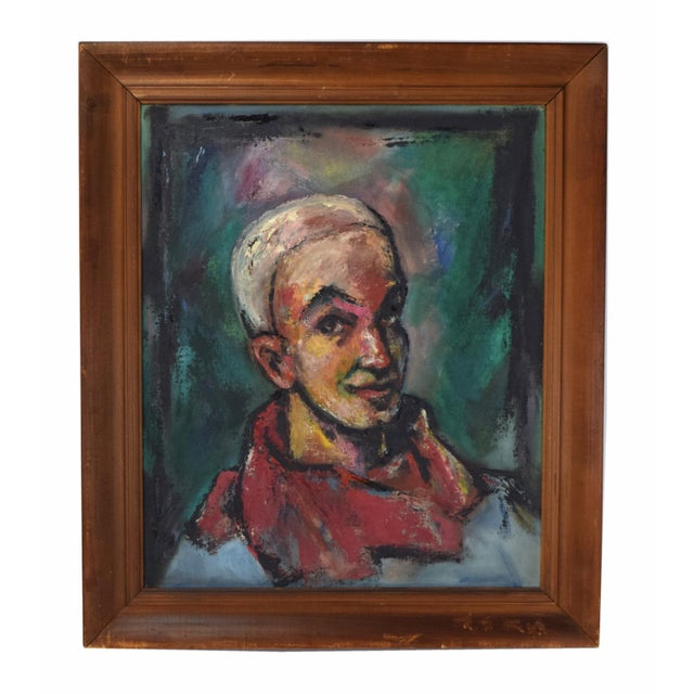 """Oil Paint Vintage Abstract Oil Painting """"Self Portrait in the Circus"""" by Nik Krevitsky For Sale - Image 7 of 7"""