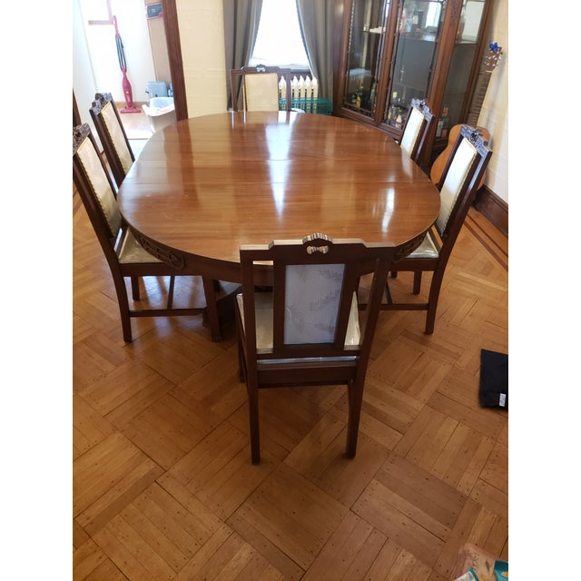 Wood Antique John D. Raab Chair Co. Dining Room Set - Set of 7 For Sale - Image 7 of 7