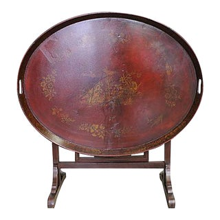 Chinoiserie Decorated Cherrywood Oval Tray Table