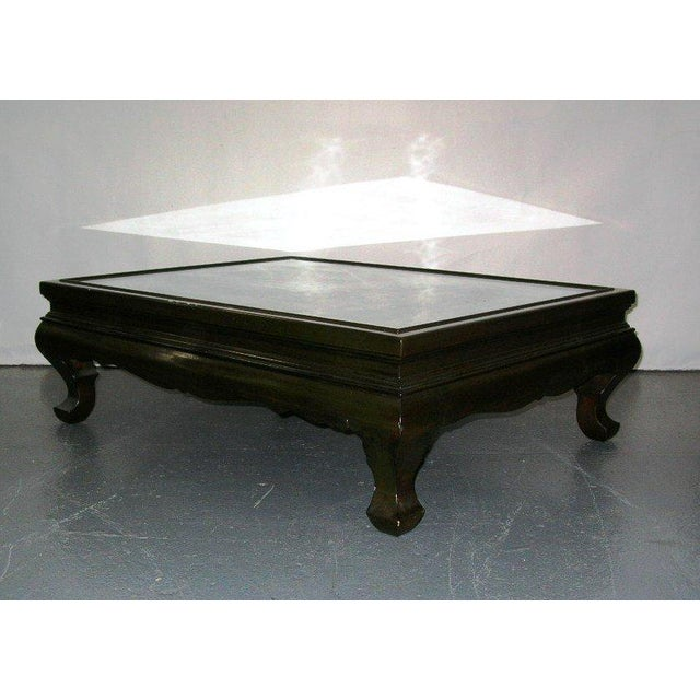 Antique Chinese Coffee Tables: Vintage Chinese Black Lacquer & Jade Top Kang-Style Coffee