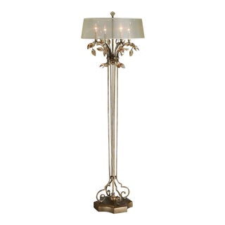 Tall Gold Crystal Floor Lamp For Sale