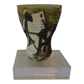 1970s Vintage Paul Soldner Raku Vessel For Sale