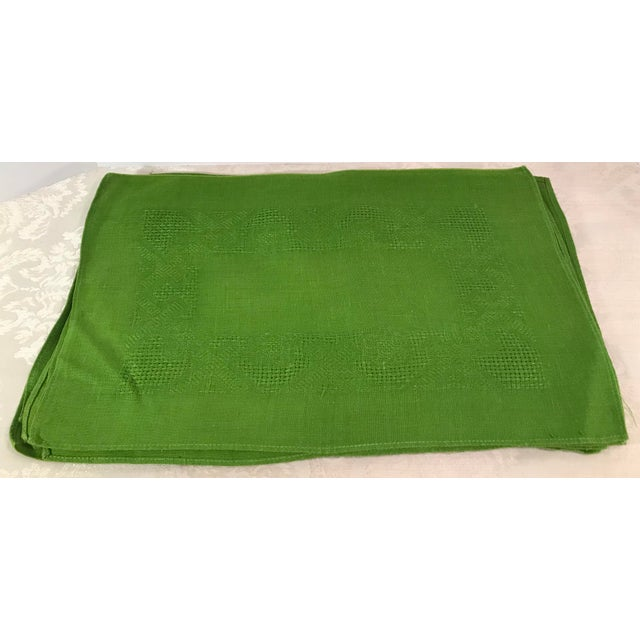 Vintage Lime Green Woven Placemats and Napkins - Set of 8 For Sale - Image 4 of 9
