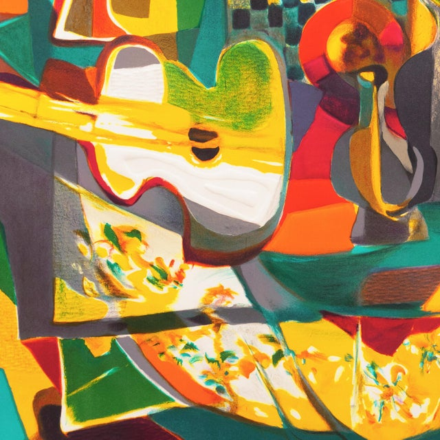 Paper 'Still Life With Guitar' by Marcel Mouly Expressionist Stone Lithograph For Sale - Image 7 of 9