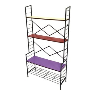 Iron Ètagerè with Wooden Shelves, Italy, 1960s For Sale