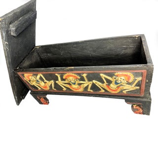 Antique Hand Made Footed Wooden Chest With Tribal Dancing Figures Preview