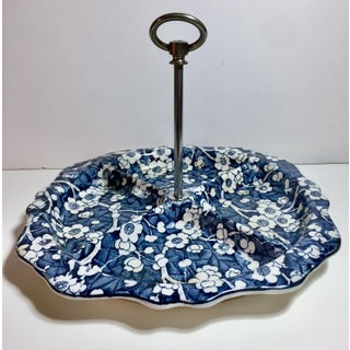 """1930s Stoke on Trent/Empire Porcelain """"Hawthorn"""" Blue and White Divided Serving Tray Preview"""