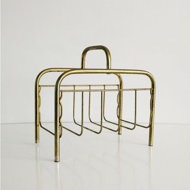 Gold 1960s Mid-Century Modern Brass Magazine Rack For Sale - Image 8 of 8