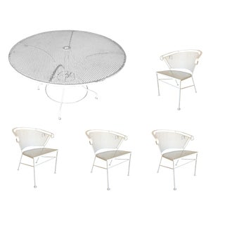 Woodard Mid-Century Steel Outdoor/Patio Dining Table Set W/ 4 Chairs For Sale