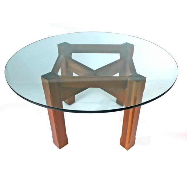 Custom glass top solid IPE table.