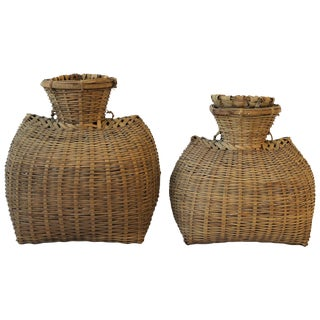 Set of Vintage Wicker Baskets For Sale