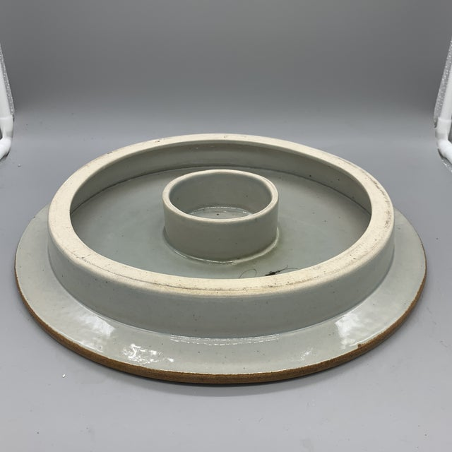 Boho Chic 1960's Vintage Ken Edwards Pottery El Palomar Blue Cake Stand For Sale - Image 3 of 10