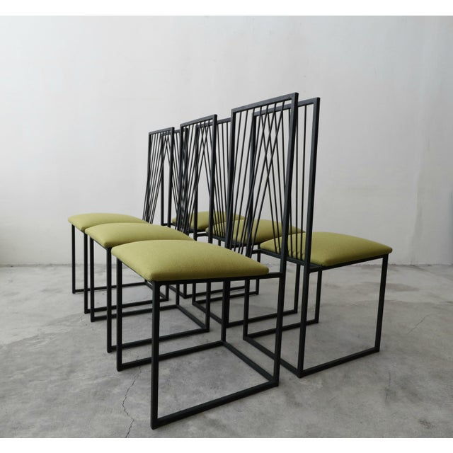 Saporiti Set of 6 Postmodern Memphis Milano Minimalist Style Dining Chairs For Sale - Image 4 of 10