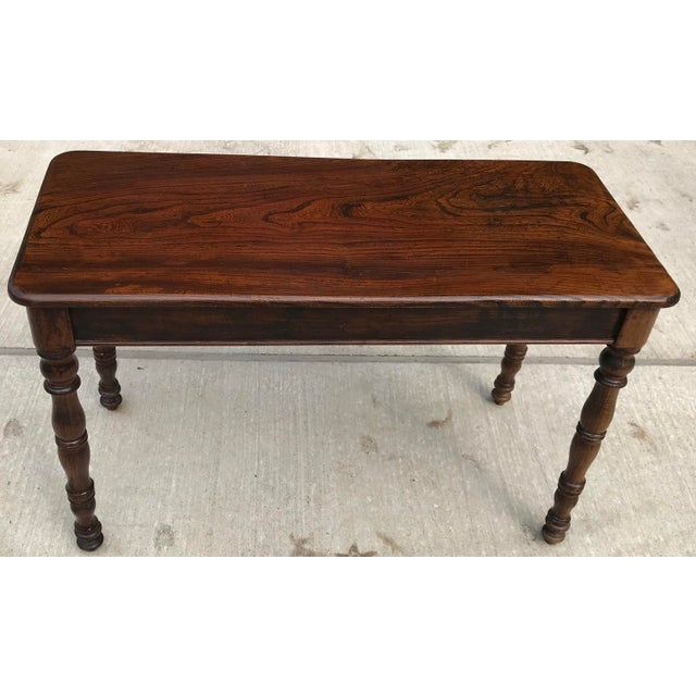 Antique Hand Hewn Rosewood Library Console Table For Sale - Image 4 of 9
