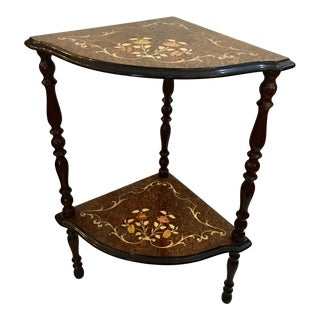 Inlaid Wood Corner Table For Sale