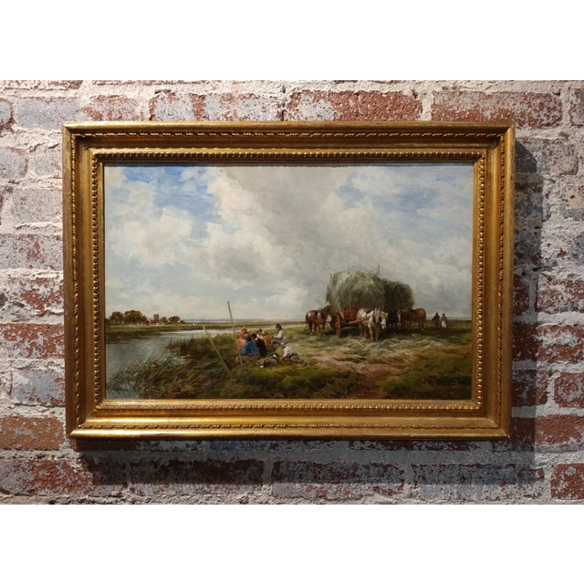 Edmund Morison Wimperis - Harvesters Resting - Exquisite 19th century Oil Painting oil painting on canvas -Signed gilt...