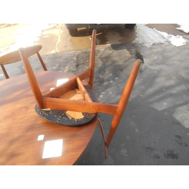 Brown Hans Wegner Dining Set / Game Table For Sale - Image 8 of 10
