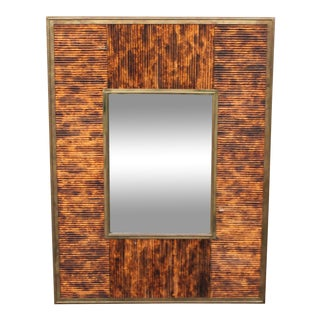 1970s Mid Century Modern Exotic Wood Wall Mirror