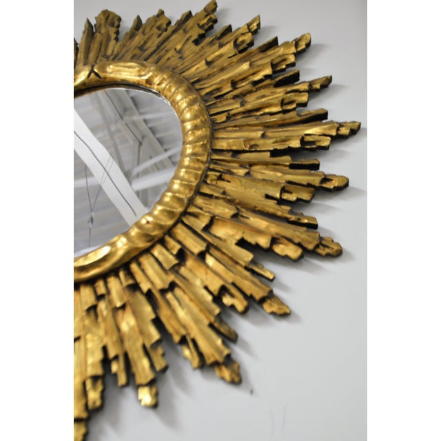 Gold Leaf Gilded Wood Sunburst Mirror, France Circa 1920 For Sale In Buffalo - Image 6 of 9