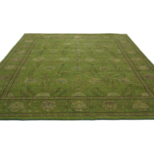 Transitional Indian Rug in Green - 8′1″ × 10′ - Image 3 of 4