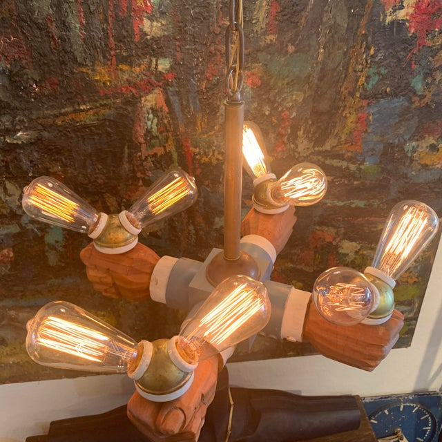 White Antique Wooden Hands Chandelier For Sale - Image 8 of 10