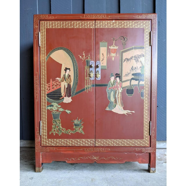 1960s Hand-Painted Chinoiserie Cabinet / Night Stand For Sale - Image 13 of 13