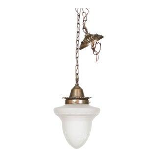 Acorn Glass Pendant on a Custom Fixture For Sale