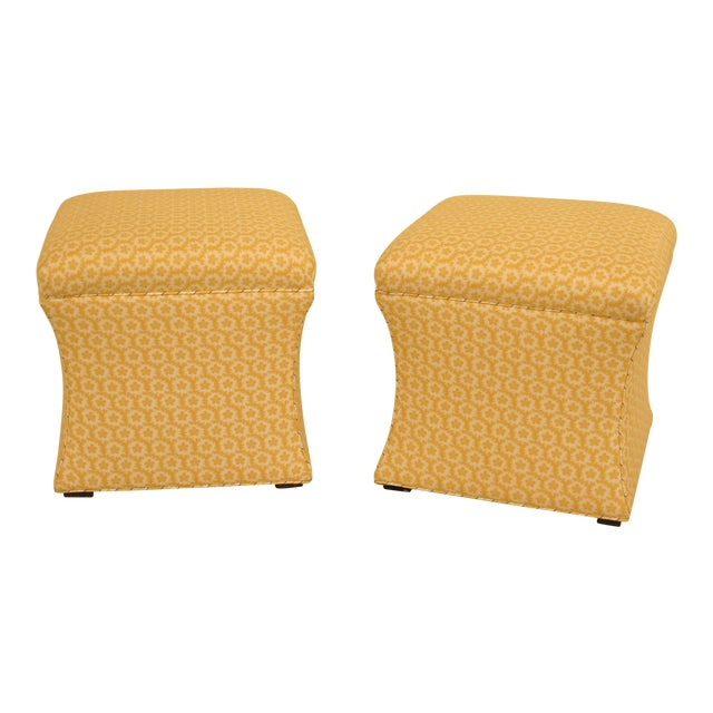 Calico Corners Custom Upholstered Ottomans - A Pair For Sale