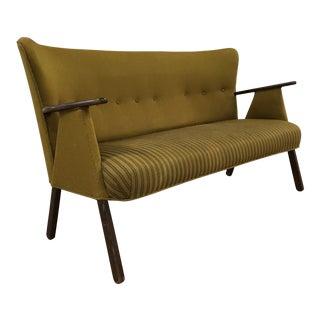 Mid Century Vintage Danish Modern Wegner Style Paddle Arm Sofa For Sale
