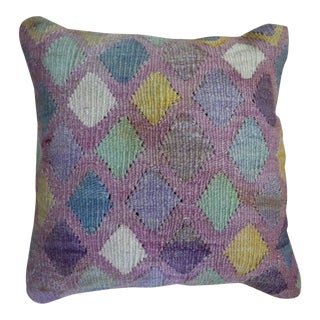 1960s Vintage Turkish Kilim Diamond Pattern Pillow For Sale