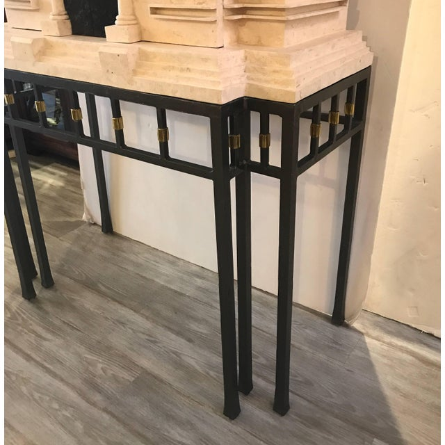 White Maitland Smith Greek Revival Sandstone Bar on Stand For Sale - Image 8 of 11