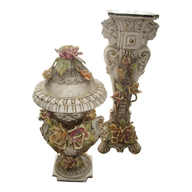 Capodimonte Jardiniere and Pedestal - A Pair For Sale