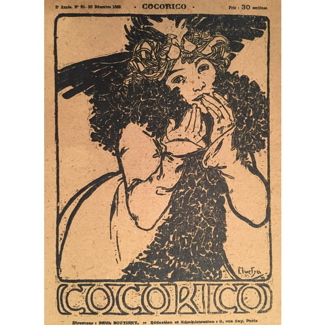 This Art Nouveau lithograph was originally designed as the cover for the French Art Nouveau design magazine, Cocorico on...