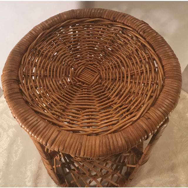 Vintage Mid-Century Modern Wicker Stool or Plant Stand For Sale In Dallas - Image 6 of 8