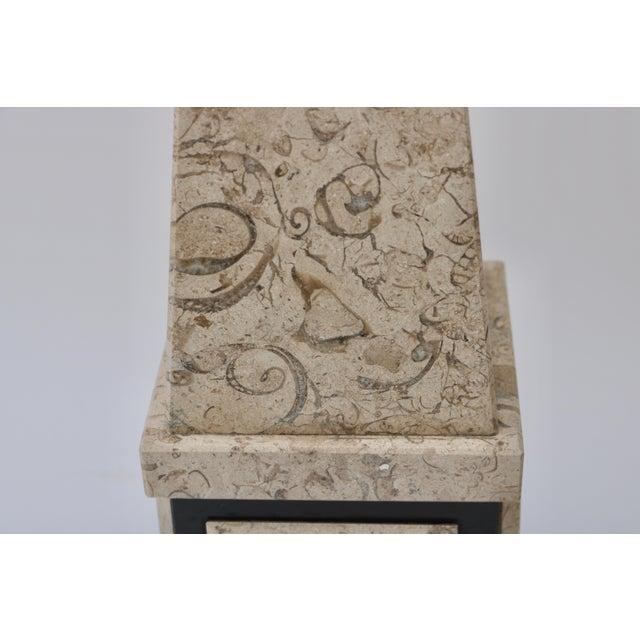 Tan & Black Marble Obelisk For Sale - Image 10 of 11