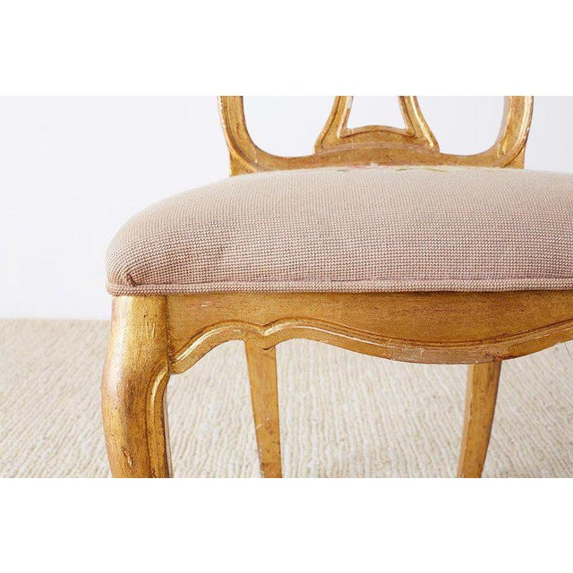 Set of Four Italian Giltwood Venetian Style Dining Chairs For Sale - Image 12 of 13