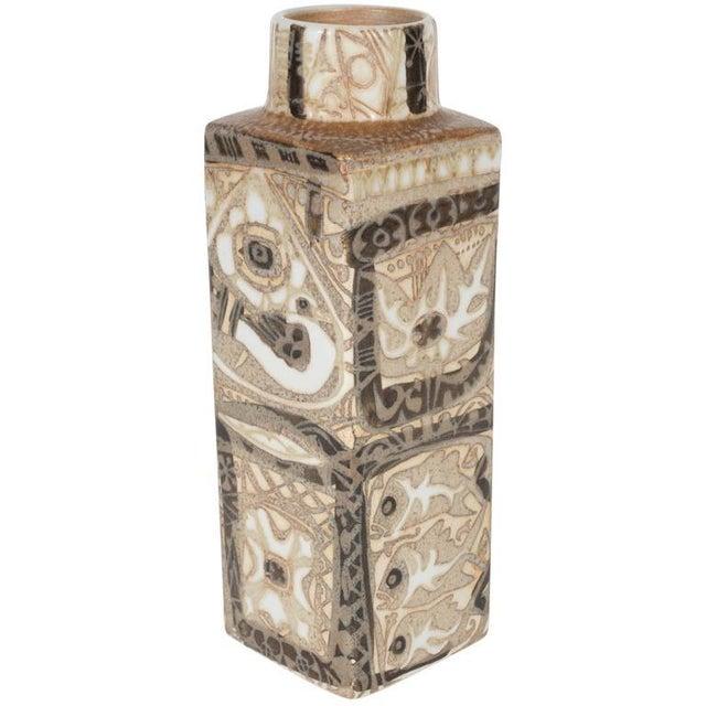 Mid-Century Modernist Ceramic Danish Vase with Geometric Designs, Nils Thorsson For Sale - Image 9 of 9