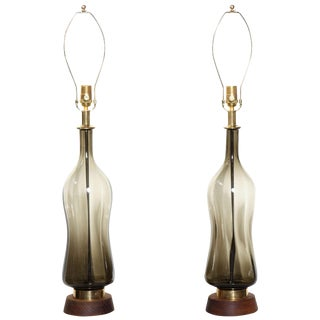1950s Blenko Smoky Olive Hourglass Glass Table Lamps - a Pair For Sale