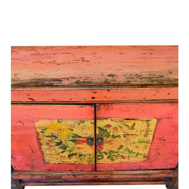 Distressed Chinese Pink Floral Console Cabinet - Image 5 of 8