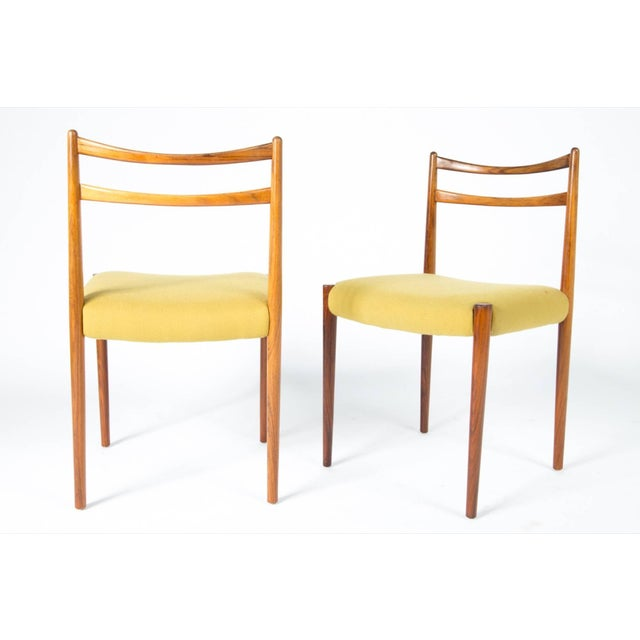 1960s Yellow Fabric Rosewood Danish Modern Chairs- Set of 4 For Sale - Image 10 of 12