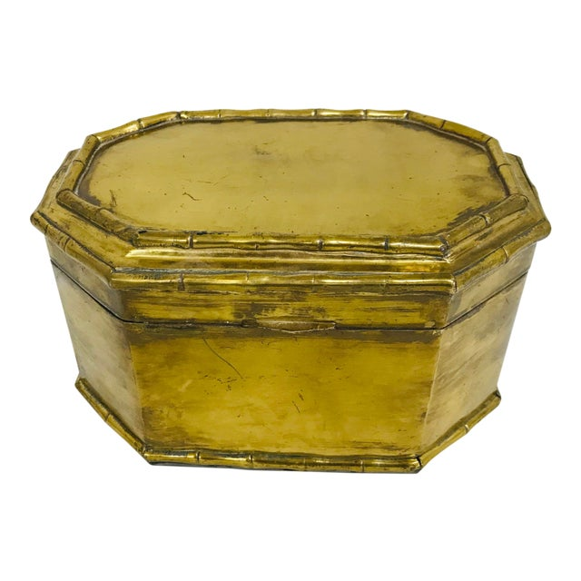 1960s Asian Faux Bamboo Decorative Brass Box For Sale