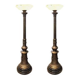 Bronze Torchiere Floor Lamps - A Pair